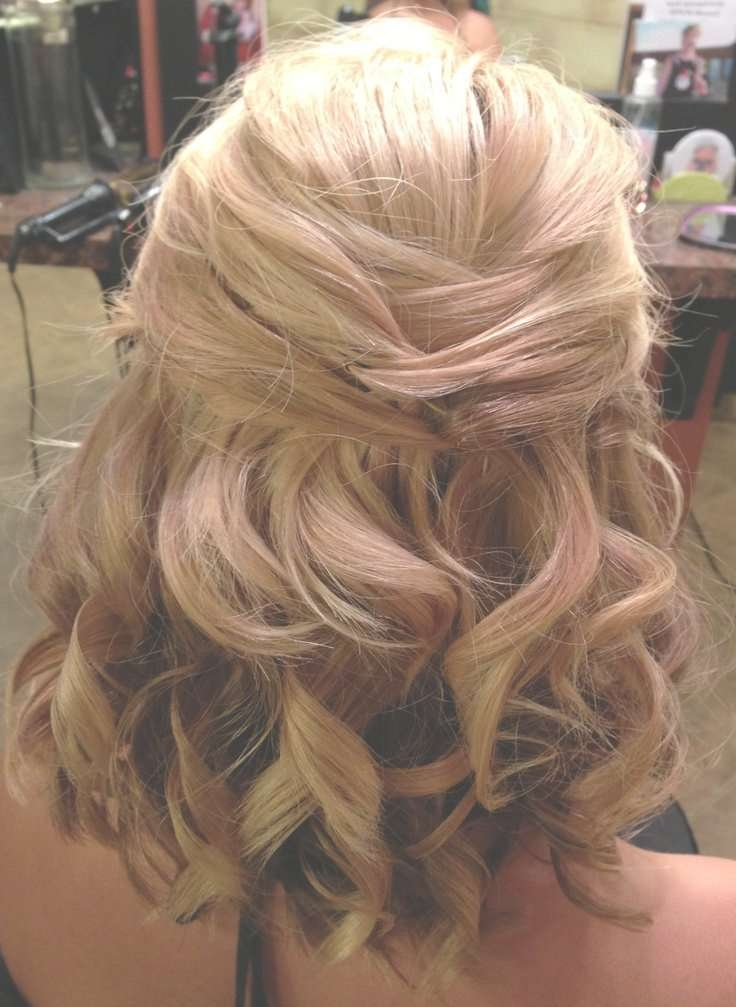 Half Up Half Down Wedding Hairstyles For Medium Length Hair In Latest Down Medium Hairstyles (View 14 of 25)