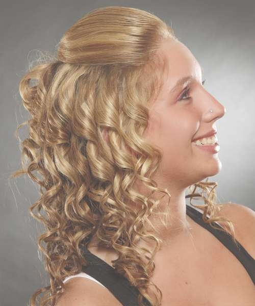 Half Up Long Curly Casual Half Up Hairstyle – Medium Blonde (Ginger) Within Best And Newest Half Long Half Medium Hairstyles (View 4 of 15)
