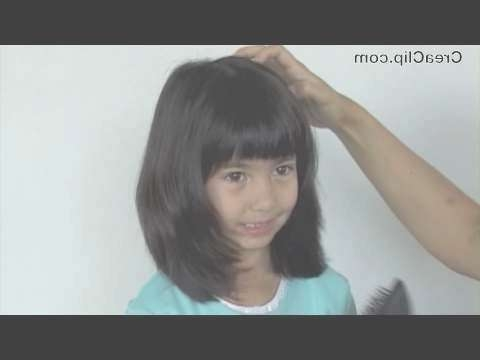 How To Cut A Layered Shoulder Length Hairstyle And Bangs Kids In Latest Kids Medium Haircuts With Bangs (View 12 of 25)