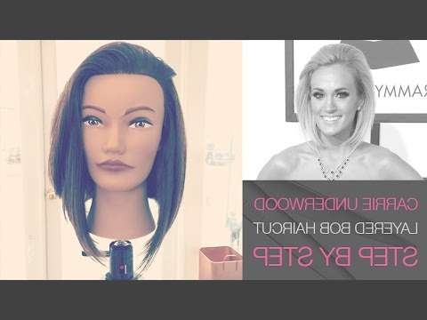 How To Cut Carrie Underwood Long Layered Bob Haircut Grammy Awards Within Carrie Underwood Bob Haircuts (View 22 of 25)