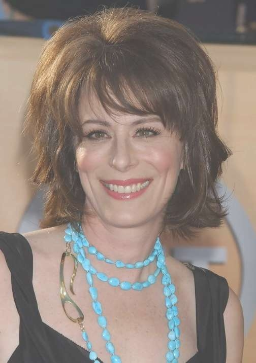 Jane Kaczmarek Layered Hairstyle With Bangs For Thick Hair inside Most Popular Medium Haircuts For Thick Hair With Bangs