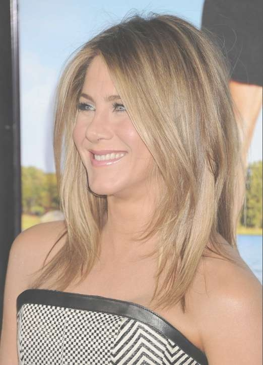 Jennifer Aniston Medium Jagged Hairstyle For Straight Hair throughout Current Cute Celebrity Medium Haircuts