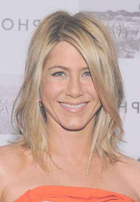Jennifer Aniston: Medium Straight Hairstyle With Side Swept Bangs With Most Current Medium Hairstyles With Side Swept Bangs (View 23 of 25)