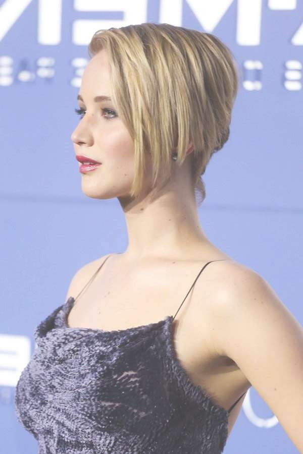 Jennifer Lawrence Bob Haircut – Asymmetrical Hairstyle With Regard To Jennifer Lawrence Bob Haircuts Jennifer Lawrence (View 12 of 25)