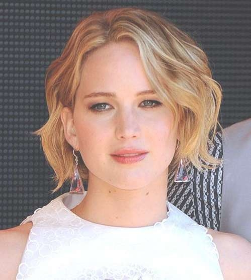 Jennifer Lawrence Haircuts And Hairstyles: Bob Cut, Pixies, Buns pertaining to Recent Jennifer Lawrence Medium Hairstyles