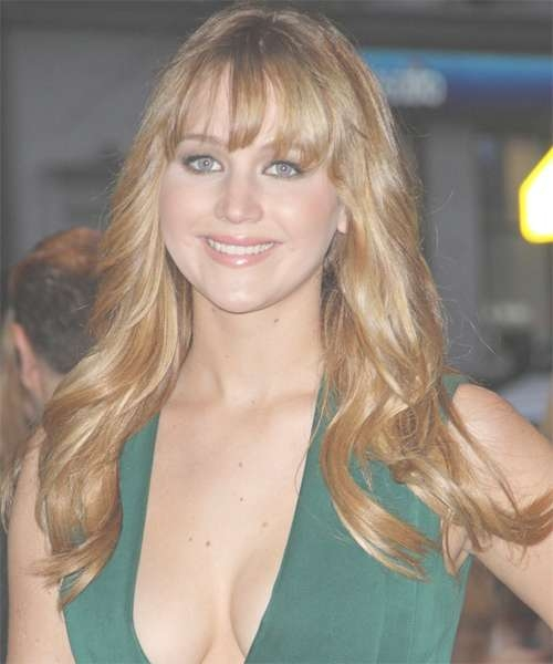 Jennifer Lawrence Long Wavy Casual Hairstyle With Layered Bangs with Most Recent Jennifer Lawrence Medium Hairstyles