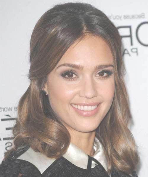 Jessica Alba Curly Formal Updo Hairstyle - Medium Brunette Hair Color pertaining to Recent Jessica Alba Medium Hairstyles