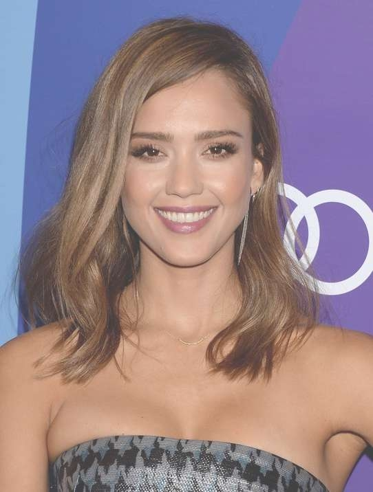 Jessica Alba Hairstyles For 2014: Side Parted Medium Length With Regard To Newest Medium Hairstyles Side Part (View 12 of 25)