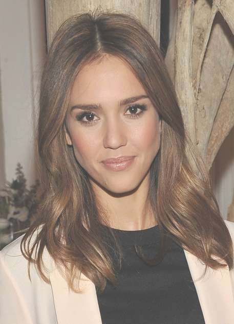 Jessica Alba Hairstyles: Sleek Lustrous Medium Hairstyle - Popular inside Latest Jessica Alba Medium Haircuts