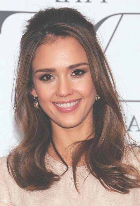 Jessica Alba Half Up Half Down Hairstyle For Medium Hair within Recent Jessica Alba Medium Hairstyles