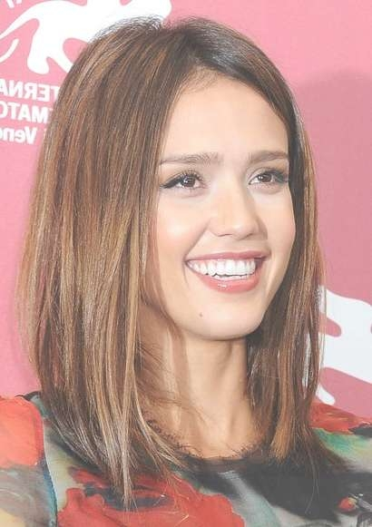 Jessica Alba Medium Straight Brunette Bob Hairstyle – Hairstyles Inside Most Current Brunette Medium Hairstyles (View 10 of 15)