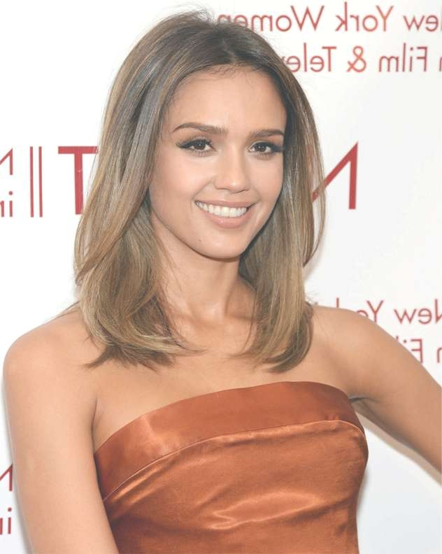 Jessica Alba Stunning Long Bob Hairstyles With Brown Highlights with regard to Jessica Alba Long Bob Haircuts