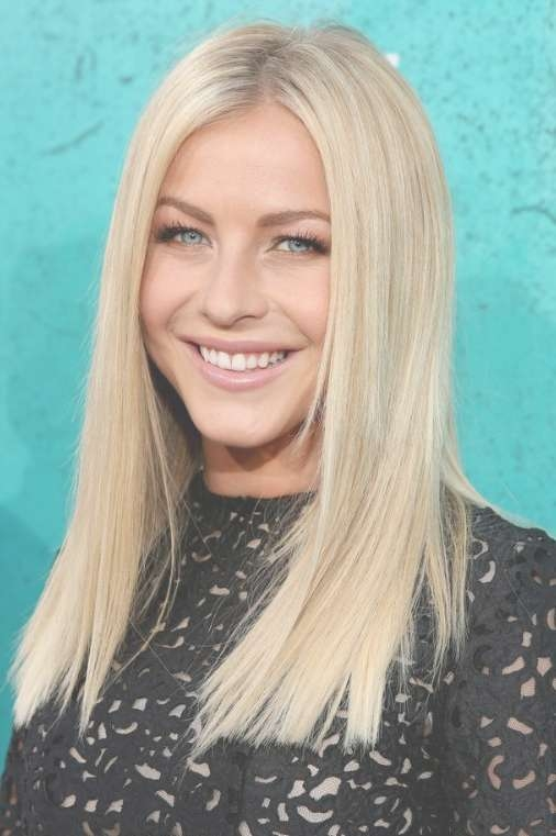 Julianne Hough Blonde Medium Straight Hairstyle – Popular Haircuts In Recent Blunt Medium Haircuts (View 2 of 25)