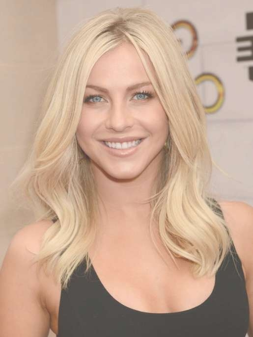 Julianne Hough Blonde Medium Wavy Hairstyle For Layers - Popular pertaining to Newest Julianne Hough Medium Hairstyles