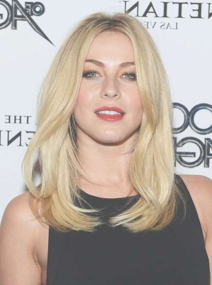 Julianne Hough Blunt Medium Straight Hairstyle – Popular Haircuts Inside Recent Center Part Medium Hairstyles (View 5 of 25)