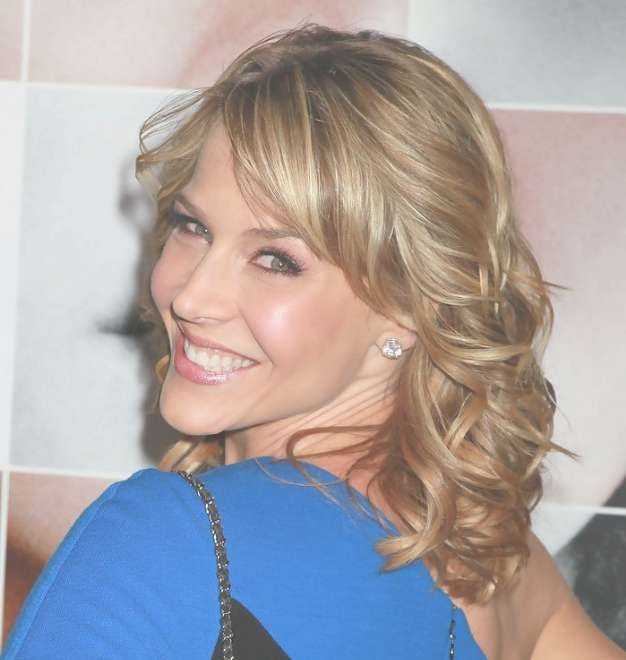 Julie Benz Medium Funky Blonde Wavy Curly Hairstyle - Hairstyles pertaining to Recent Wavy Curly Medium Hairstyles