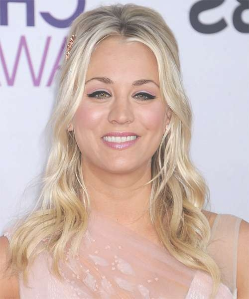 Kaley Cuoco Long Wavy Casual Hairstyle – Medium Blonde Pertaining To Latest Kaley Cuoco New Medium Haircuts (View 11 of 25)