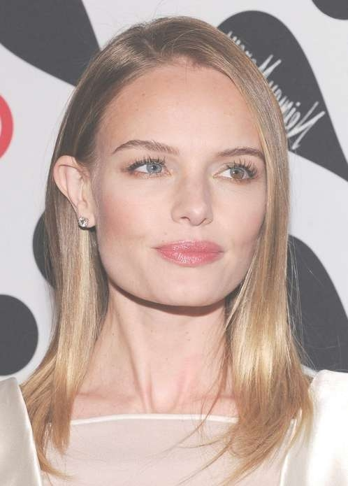 Kate Bosworth Medium Length Hairstyle: Straight Hair With Side With Regard To Current Medium Hairstyles Side Part (View 7 of 25)