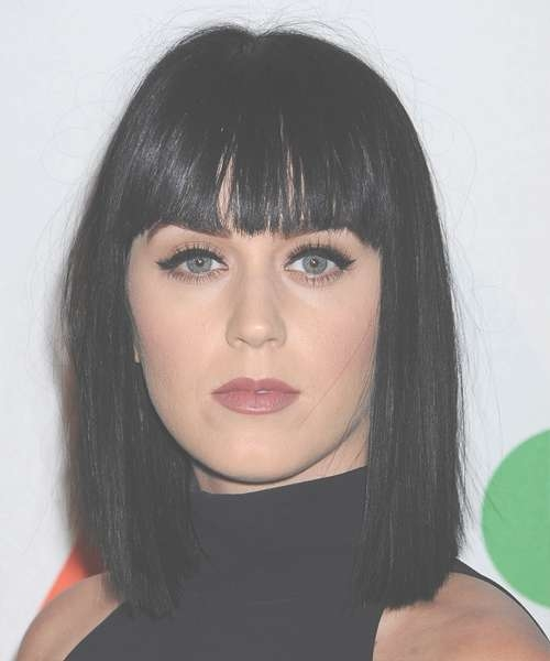 Katy Perry Medium Straight Casual Hairstyle With Blunt Cut Bangs Inside Current Katy Perry Medium Hairstyles (View 9 of 25)