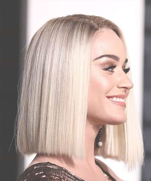 Katy Perry Medium Straight Formal Bob Hairstyle – Light Blonde Regarding Straight Bob Hairstyles (View 19 of 25)