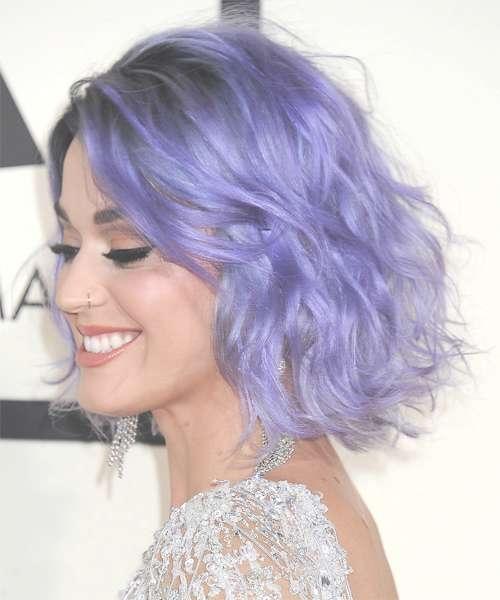 Katy Perry Medium Wavy Casual Hairstyle – Purple Regarding Newest Purple Medium Hairstyles (View 16 of 25)