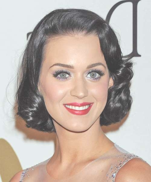 Katy Perry Medium Wavy Formal Hairstyle – Black Hair Color Within Recent Katy Perry Medium Hairstyles (View 19 of 25)