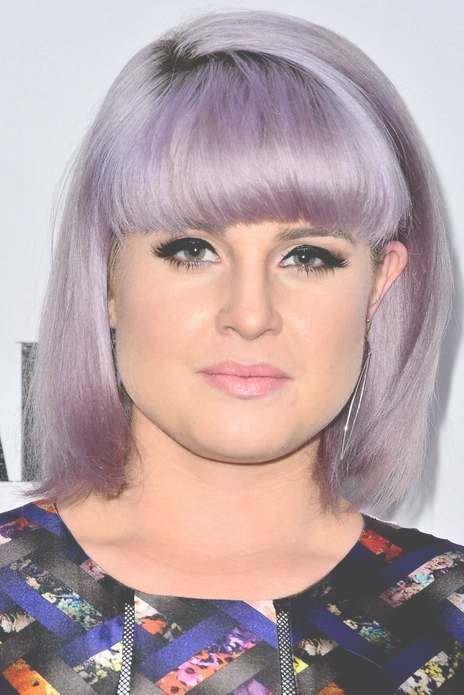Kelly Osbourne Short Purple Bob Haircut With Full Blunt Bangs With Regard To Full Bob Haircuts (View 22 of 25)