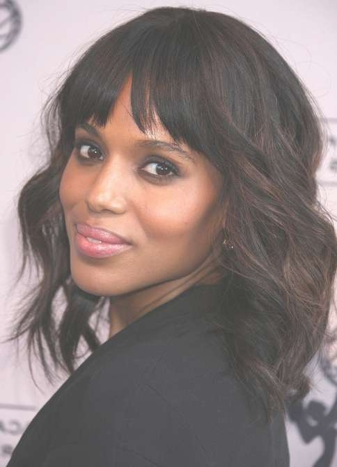 Kerry Washington Hair Styles: Medium Haircut With Bangs – Popular Throughout Best And Newest Black Hairstyles Medium Haircuts (View 17 of 25)
