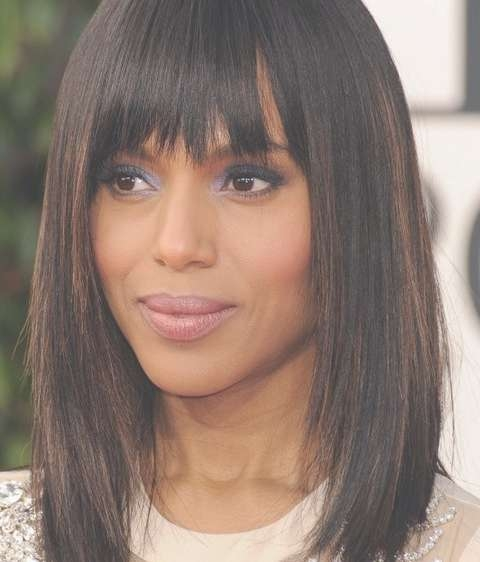 Kerry Washington Mid Length Hairstyles: Straight Haircut With Within Recent Medium Haircuts With Straight Bangs (View 4 of 25)