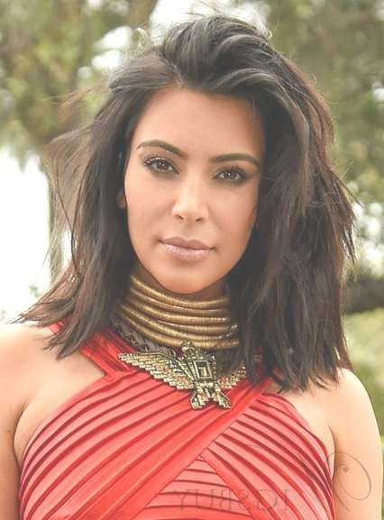 Kim Kardashian Fashion Layered Medium Length Lace Front Wigs 14 Within Recent Hairstyles