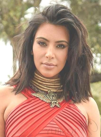 Kim Kardashian Fashion Layered Medium Length Lace Front Wigs 14 Within Recent Kim Kardashian Medium Hairstyles (View 11 of 25)