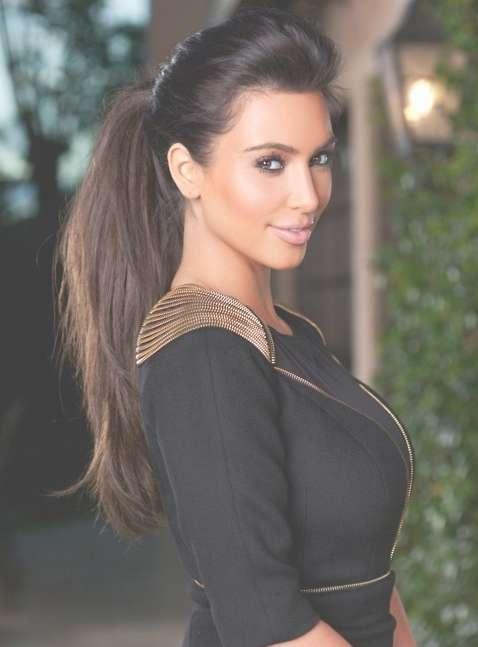 Kim Kardashian Long Hairstyles: High Ponytail Hairstyle – Popular For Most Popular Kim Kardashian Medium Haircuts (View 20 of 25)