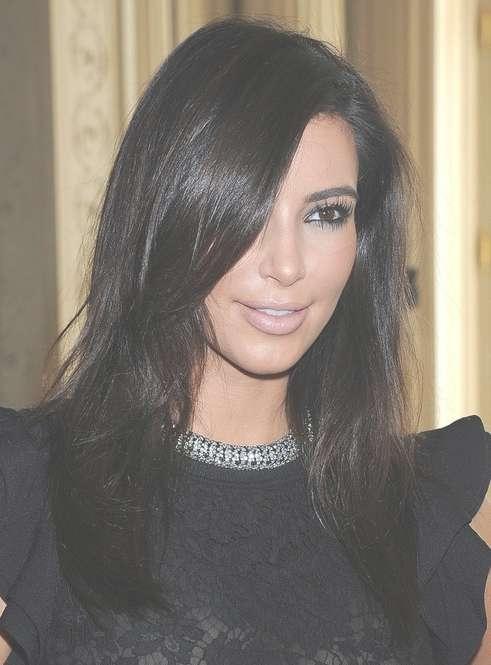 Kim Kardashian Medium Hairstyles: Casual Black Hair – Popular Haircuts Throughout Most Current Kim Kardashian Medium Haircuts (View 2 of 25)
