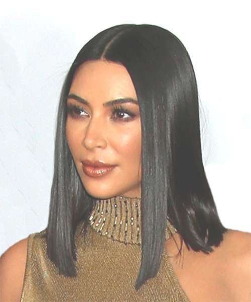 Kim Kardashian Medium Straight Formal Bob Hairstyle – Black Hair Color Intended For Most Current Kim Kardashian Medium Hairstyles (View 13 of 25)
