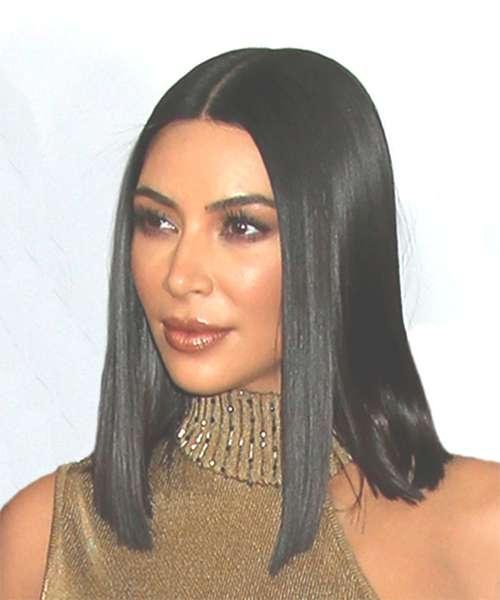 Kim Kardashian Medium Straight Formal Bob Hairstyle – Black Hair Color Regarding Most Current Kim Kardashian Medium Haircuts (View 19 of 25)
