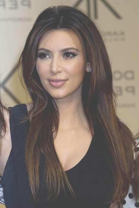 Kim Kardashian Sleek Long Hairstyle For Straight Hair – Popular Inside Most Recently Kim Kardashian Medium Haircuts (View 18 of 25)
