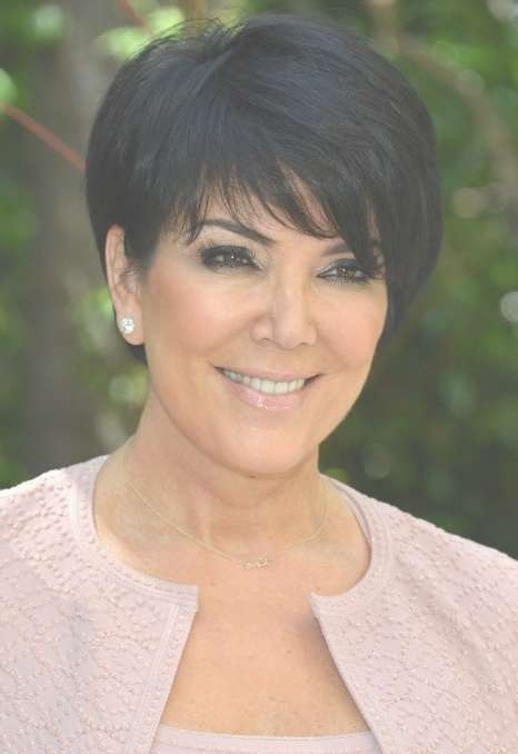 Kris Jenner Short Black Haircut With Side Swept Bangs – Hairstyles With Regard To Latest Medium Haircuts Kris Jenner (View 14 of 25)