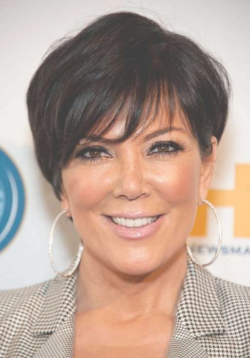 Kris Jenner Short Layered Haircut With Bangs For Women Over 50 For Most Up To Date Kris Jenner Medium Hairstyles (View 6 of 15)