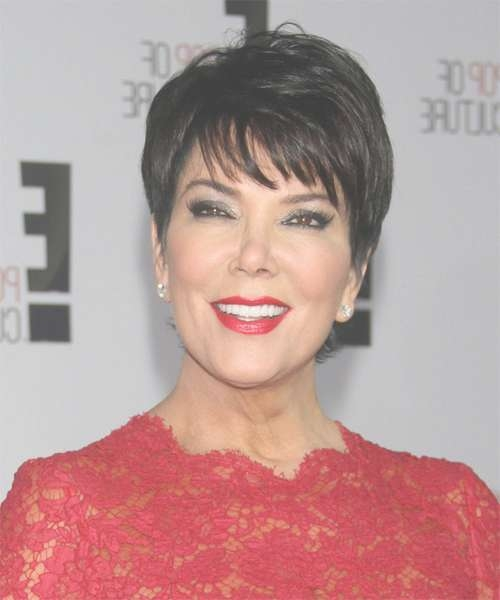 Kris Jenner Short Straight Formal Hairstyle With Layered Bangs – Black In Latest Kris Jenner Medium Haircuts (View 4 of 25)