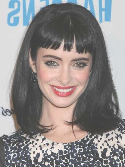 Krysten Ritter Black Medium Straight Hairstyles With Blunt Bangs With Regard To Most Recently Medium Haircuts With Straight Bangs (View 24 of 25)