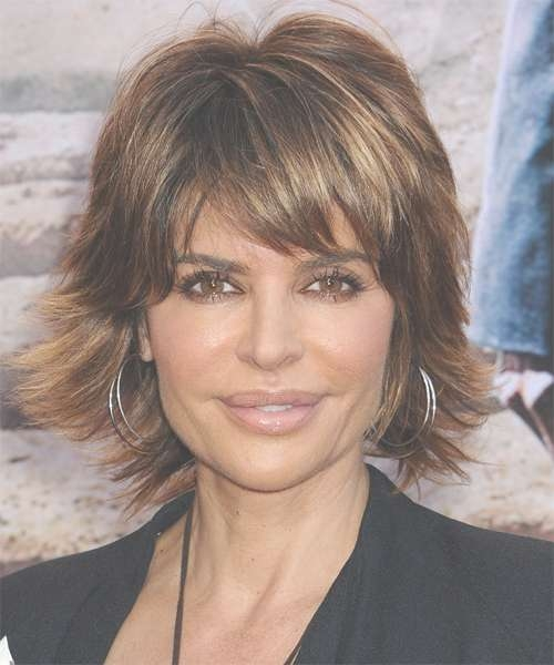 Lisa Rinna Short Straight Casual Hairstyle With Razor Cut Bangs Regarding Best And Newest Razor Cut Medium Hairstyles (View 24 of 25)