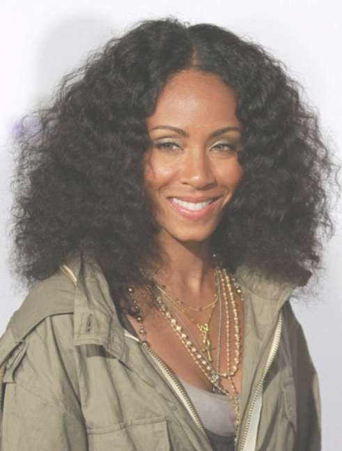 Medium Black Curly Hairstyle: High Volume Natural Waves – Jada For Current Sexy Black Medium Hairstyles (View 14 of 15)
