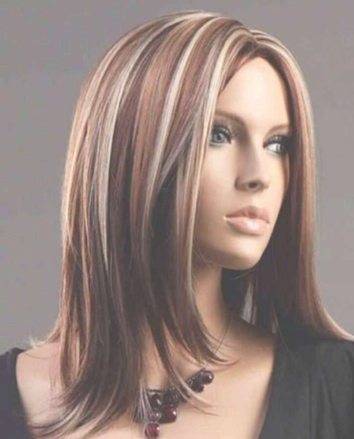 Medium Brown Hair With Caramel And Blonde Highlights Intended For Best And Newest Medium Hairstyles With Red Highlights (View 10 of 15)