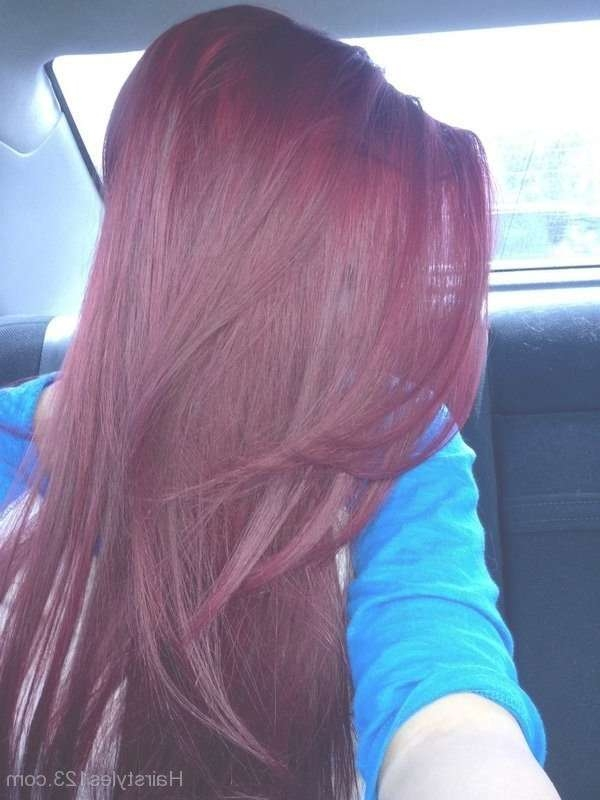Medium Burgundy Hairstyles Inside Most Up To Date Burgundy Medium Hairstyles (View 3 of 15)