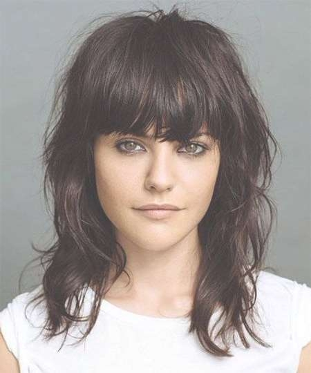 Medium Hairstyles With Bangs (17) – Glamorous Hairstyles Pertaining To Best And Newest Medium Hairstyles With Bangs (View 4 of 25)