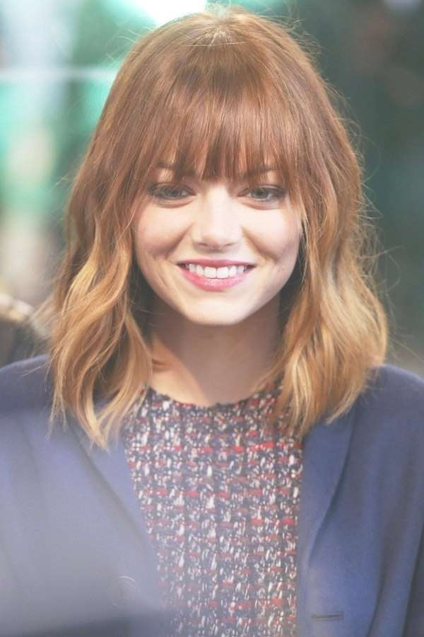 Medium Hairstyles With Bangs Emma Stone – The Fashion Tag Blog In Most Recently Bangs Medium Hairstyles (View 22 of 25)