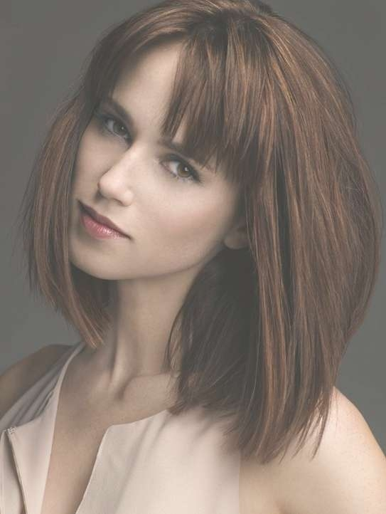Medium Hairstyles With Bangs: Straight Bob Haircut 2014 – Popular For 2018 Medium Haircuts With Fringe Bangs (View 24 of 25)