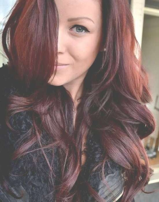Medium Length Black Hairstyles With Plum Highlights In Recent Medium Hairstyles With Red Highlights (View 13 of 15)