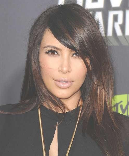 Medium Length Hair: Artistic Chestnut Highlights On Sliced Cut For 2018 Kim Kardashian Medium Hairstyles (View 3 of 25)