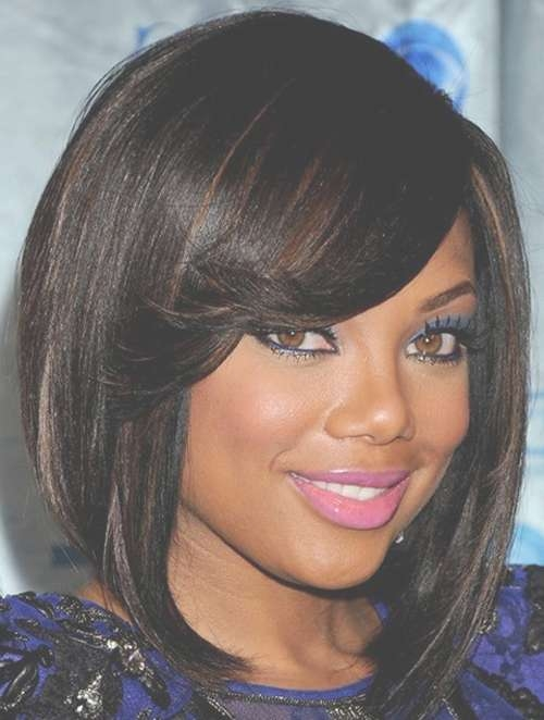 Medium Length Haircuts Black Hair Regarding Most Popular Medium Hairstyles For Black Hair (View 2 of 25)